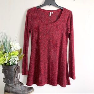 Cato Burgundy Long Sleeve Ribbed Top / Tunic